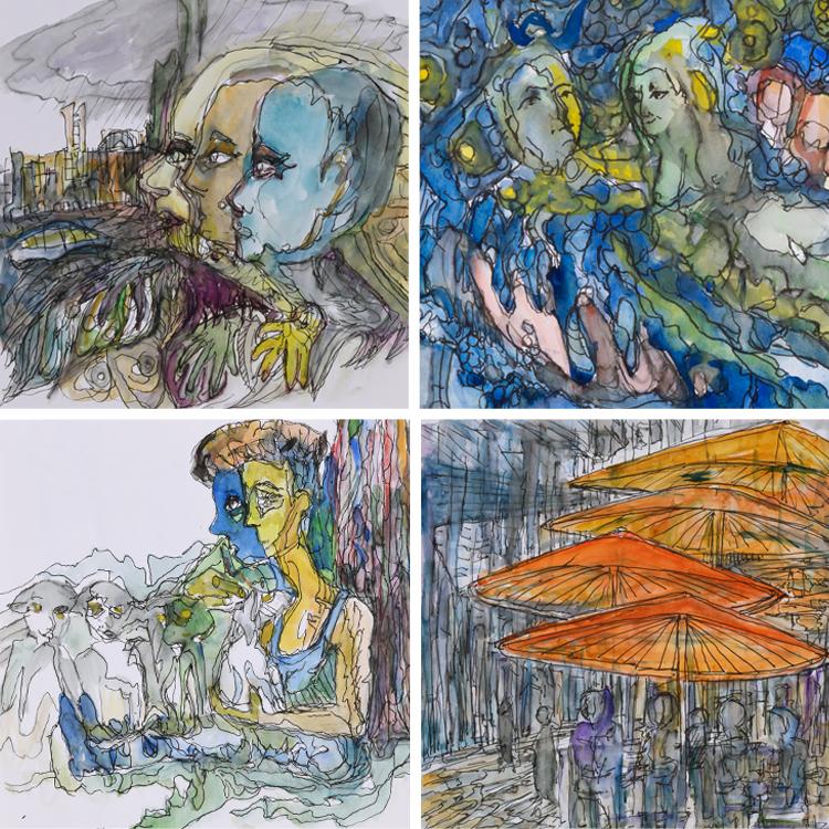 Jan F. van Beelen, Schetsen, voor 2000, pentekeningen en aquarel.